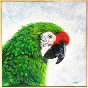 Jess King, Green parrot acrylic and ink, Manly Harbour Gallery, Brisbane Art Gallery