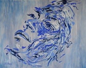 Jess King, contemporary blue painting, Manly Harbour Gallery, Brisbane Art Gallery