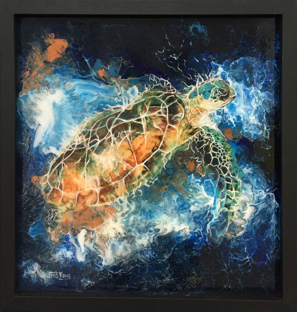 Jess King, Abstract acrylic pour with turtle, Manly Harbour Gallery, Brisbane Art Gallery