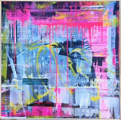 Jenny McNamara Furlong, Abstract pink painting, Manly Harbour Gallery, Brisbane Art Gallery