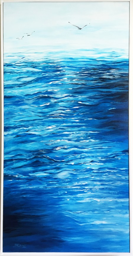 Jess King, Seascape calm water acrylic painting, Manly Harbour Gallery, Brisbane Art Gallery