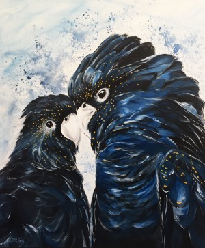 Black Cockatoo Love by Jess King at Manly Harbour Gallery