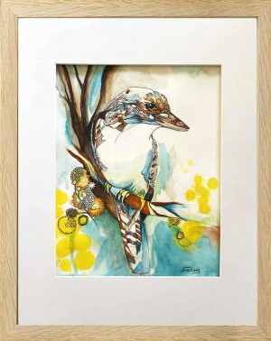 Kookaburra Study framed by Jess King