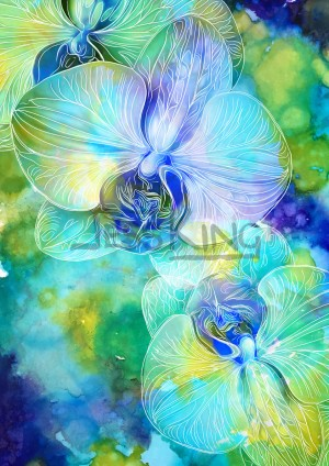 Blue Orchard digital art by Jess King