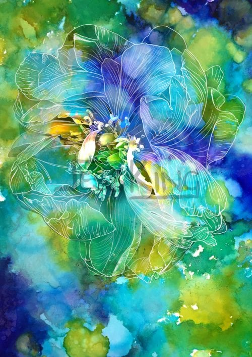 Blue Peony digital art by Jess King