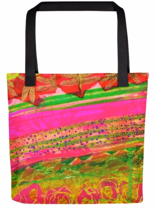 Pink Lime Garden tote bag by Amanda Slater