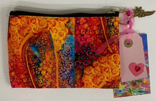 Floral Fire Small Pouch 15 x 10 $27.50 by Amanda Slater