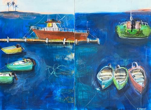 , At The Waters Edge (Diptych), Manly Harbour Gallery