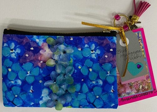 Blue Hydrangea Small Pouch by Amanda Slater