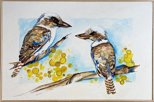 Kookaburra Conversation by Jess King at Manly Harbour Gallery