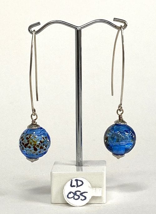 Handmade Blue Glass Earrings by Liz DeLuca