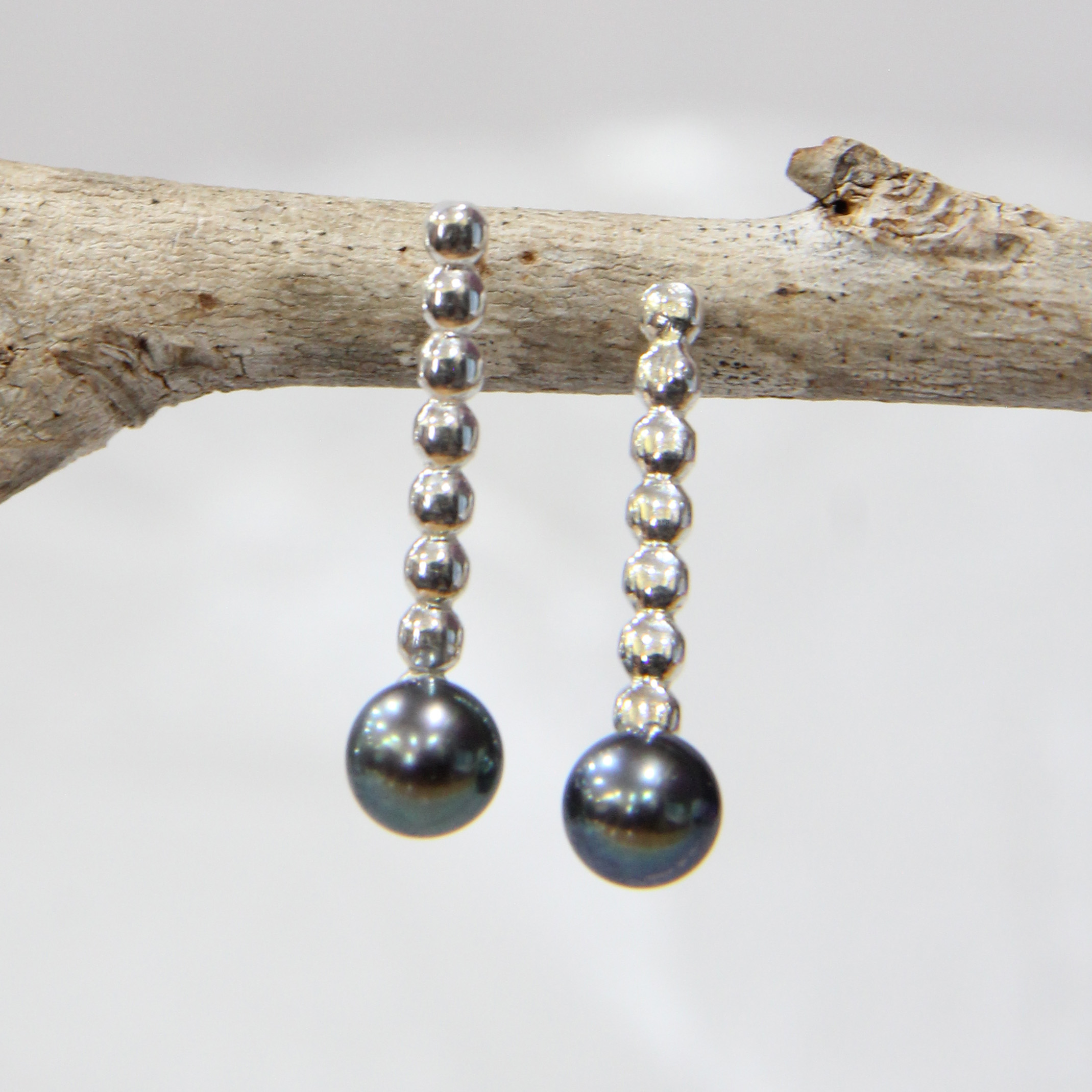 Sterling Silver Bead Wire Drop Studs with Freshwater Pearls $45