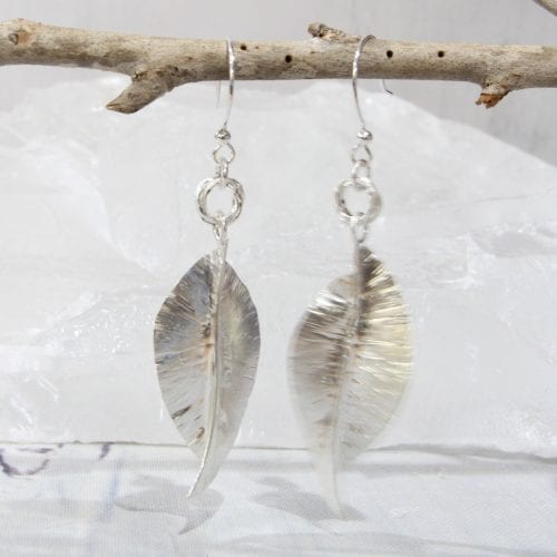 Sterling Silver Leaf Earrings (hooks) $95