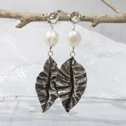 Sterling Silver Oxidised Leaves with Freshwater Pearls and watercast studs $125