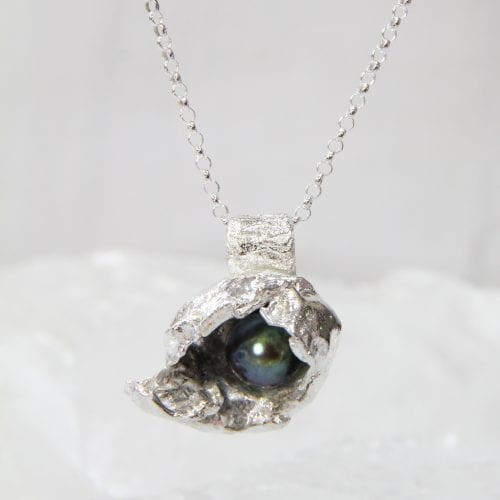 Sterling Silver Watercast & Freshwater Pearl Pendant Large $145