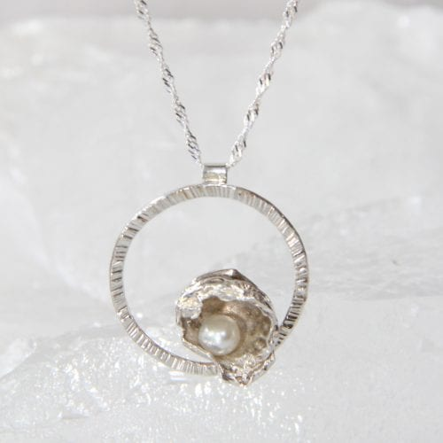 Sterling Silver Watercast & Freshwater Pearl Pendant Med $125
