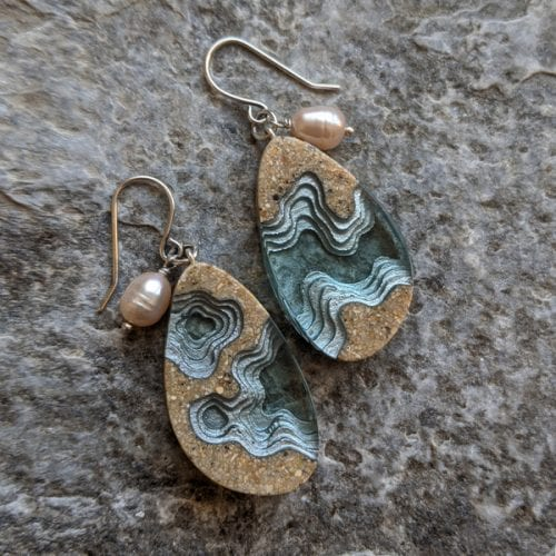 Bold B beach sand and resin earrings for sale at Manly Harbour Gallery