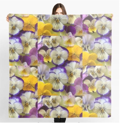 Amanda Slater Scarf 140x140 $75 Passion for Pansies