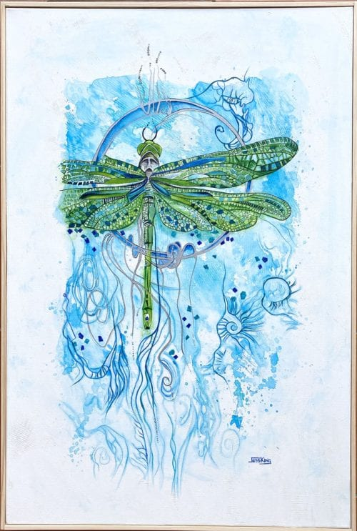 Dragonfly freedom painting by Jess King for sale online at Manly Harbour Gallery