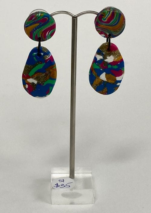Smith and Ivy handmade Dangles non toxic pvc based Polymer Clay high grade surgical steel, 5.5cm long $35