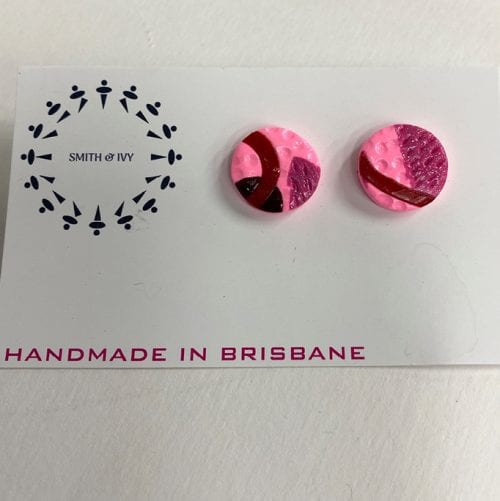 Smith and Ivy handmade Studs non toxic pvc based Polymer Clay high grade surgical steel 2cm diametre $15