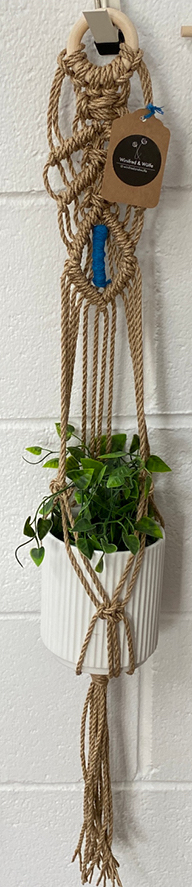 Winifred and Wulfe Plant Hanger $45 80cm long natural and blue