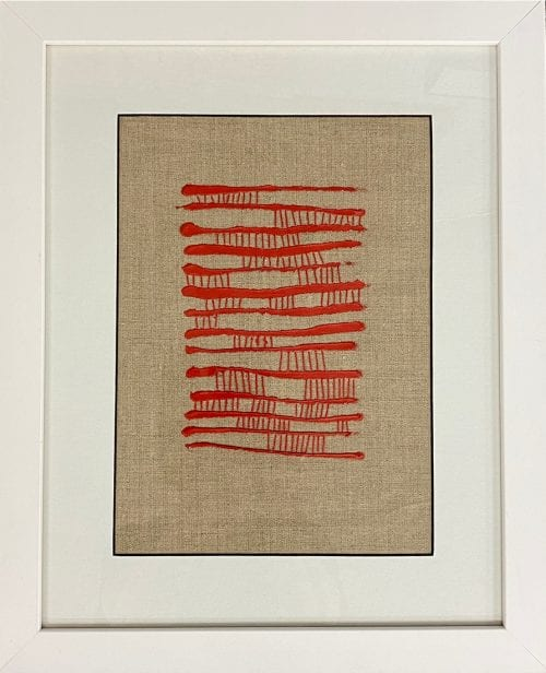 Between The Lines - Acrylic & Threadwork on Linen Framed $125