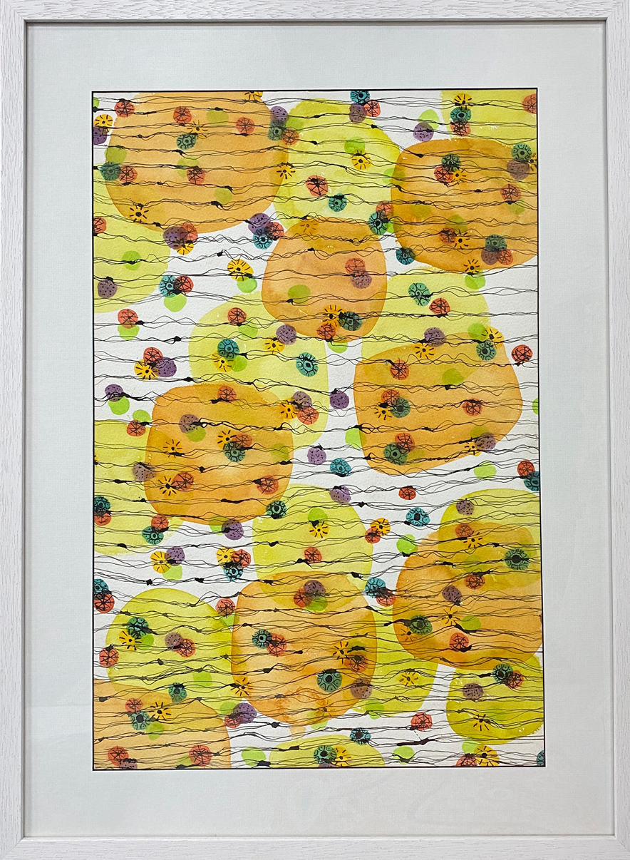 Lime-Twist-Mixed-media-watercolour-ink-Framed