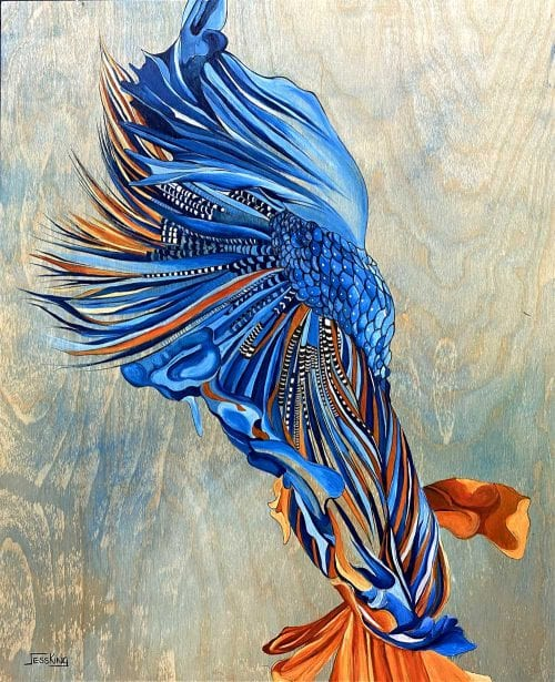 Something fishy - painting by Jess King with blue and orange