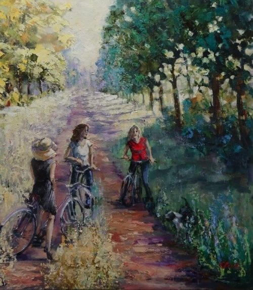 The cyclists by Christine Reilly $1150 60 x 60 cm