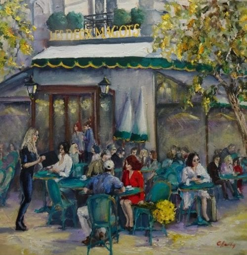 Les Deux Magots by Christine Reilly $1150 60 x 60 cm Oil