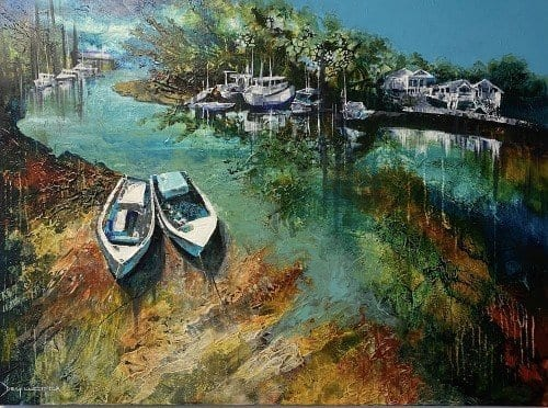 Wynnum Creek at Low Tide by De Gillett Cox $2200