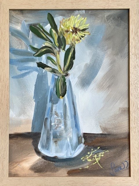 , Beach Banksia in blue vase, Manly Harbour Gallery